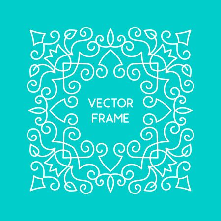 blue vintage background: Vintage floral frame for your text. Vector monogram illustration. Line style design. Decorative ornament with abstract flowers. Illustration