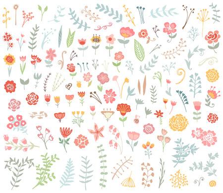 꽃 손 빈티지 세트를 그려. 벡터 꽃과 컬렉션 잎. 스케치 아트 그림.