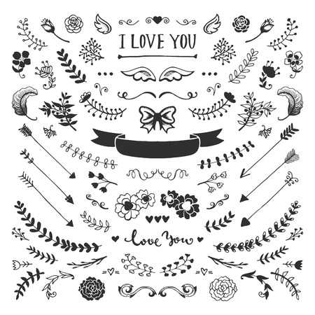 vintage design: Vintage hand drawn floral elements collection. Vector sketch elements set. Illustration with flowers and leaves, arrows and frames.