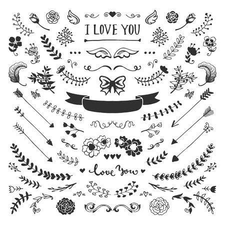 Vintage hand getekende florale elementen collectie. Vector schets elementen. Illustratie met bloemen en bladeren, pijlen en frames.