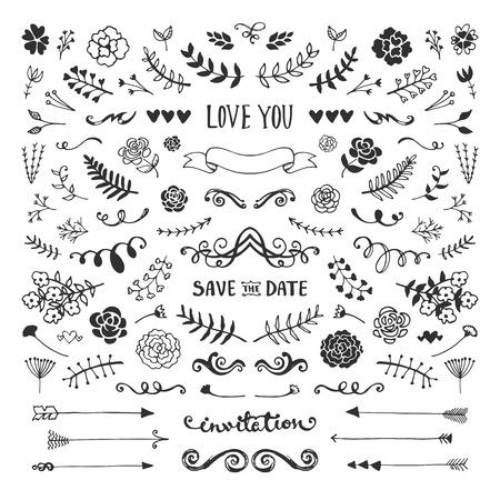 빈티지 손으로 꽃 요소 컬렉션을 그려. 벡터 스케치 요소를 설정합니다. 꽃과 잎, 화살표와 프레임 그림.