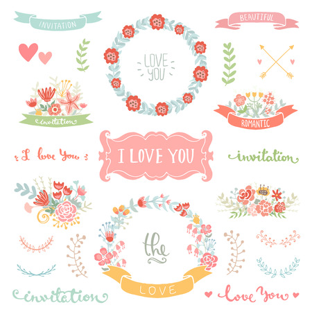 save: Wedding vintage elements collection. Romantic hand drawn floral set with frames, flowers, leaves and ribbons. Romantic vector elements for card. Save the Date and Invitation.