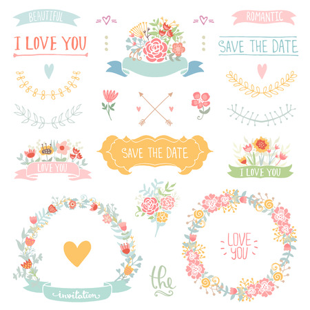 Wedding vintage elements collection. Romantic hand drawn floral set with frames, flowers, leaves and ribbons. Romantic vector elements for card. Save the Date and Invitation.