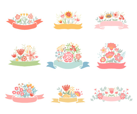 Wedding vintage elements collection. Romantic hand drawn floral set with flowers, leaves and ribbons. Romantic vector elements for card.