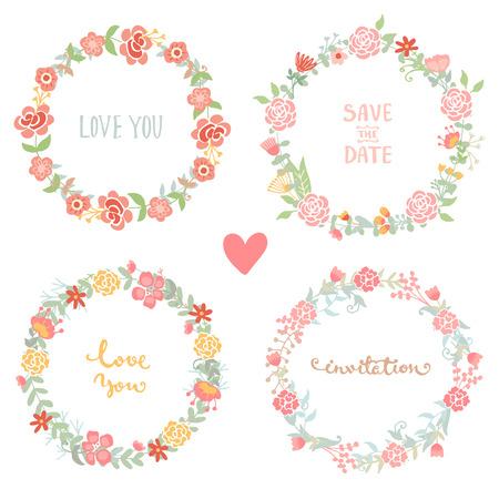 Boda Colección de los elementos de época. Lado romántico dibuja cuadros de flores establecidos con flores y hojas. Elementos vectoriales románticas con letras para la tarjeta.