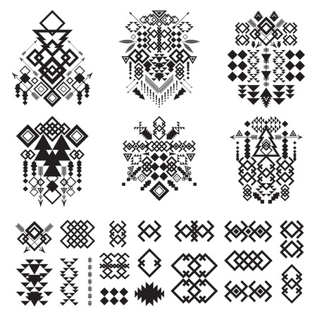 tribal pattern: Tribal elements collection. Vector illustration set.Tribal art and aztec design.