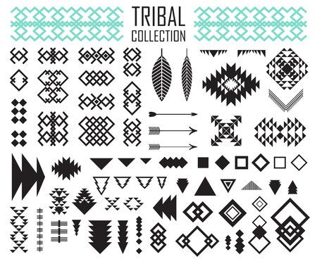 部族の要素のコレクションです。ベクトル図を設定します。種族の芸術およびアステカ デザイン。  イラスト・ベクター素材