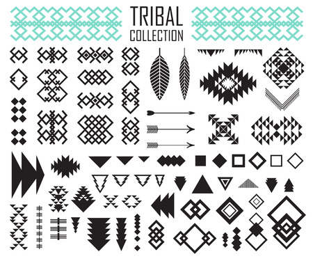 Tribale elementen collectie. Vector illustratie set.Tribal kunst en Azteekse design.