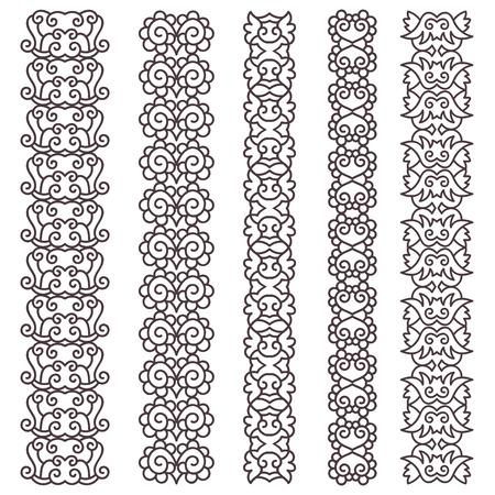 bordes decorativos: Dibujado a mano fronteras conjunto vendimia. Ornamentales colecci�n bordes decorativos. Ilustraci�n del vector. Vectores