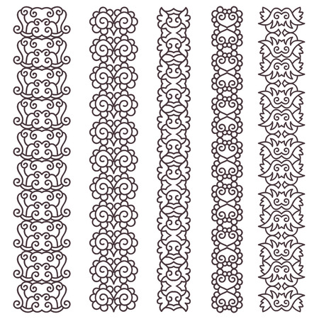 Hand drawn vintage borders set. Ornamental decorative borders collection. Vector illustration.