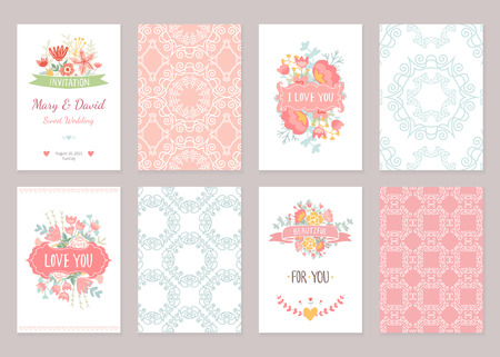 the season of romance: Romantic vintage cards collection. Hand drawn vector floral illustration set. Wedding style. Illustration