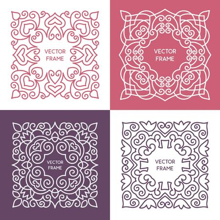 decorative line: Vintage floral frame collection. Vector monogram illustrations set. Line style design. Decorative ornament with abstract flowers. Illustration