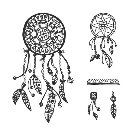 dream catcher: Tribal vector elements collection. Hand drawn indian illustration with dream catchers and feathers.
