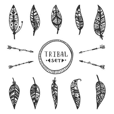 Tribal vector elements collection. Hand drawn indian illustration with arrows and feathers.