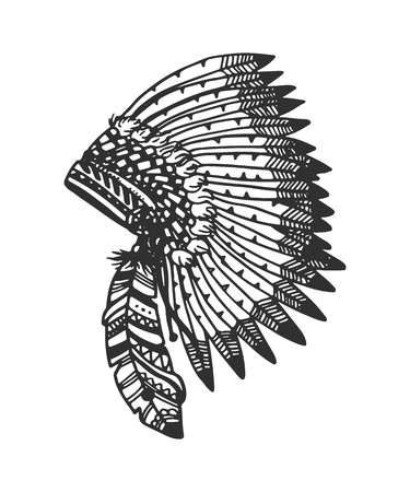 indian tribe: Tribal vector headband with feathers. Hand drawn indian illustration. Illustration