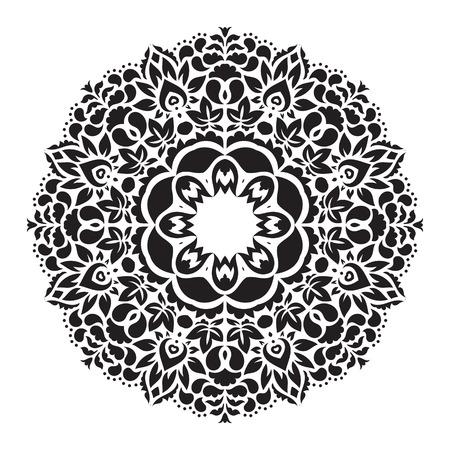 Vector mandala ornament. Round floral pattern. Hand drawn decorative element.