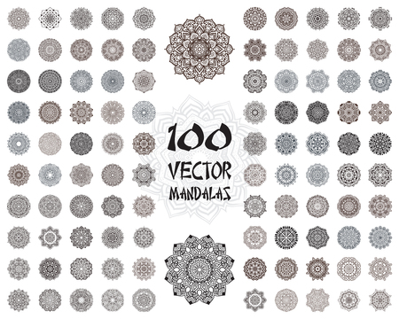 traditional pattern: Vector mandala ornaments set. Round floral patterns collection. Hand drawn decorative element.
