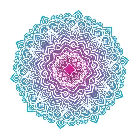 ベクトル マンダラ飾り。丸い花柄。手描きの装飾的な要素。