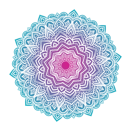 template: Vector mandala ornament. Round floral pattern. Hand drawn decorative element.