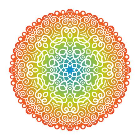 Vector mandala ornament. Motivo floreale rotondo Elemento decorativo disegnato a mano. Archivio Fotografico - 45359835