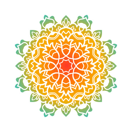 decorative element: Vector mandala ornament. Round floral pattern. Hand drawn decorative element.