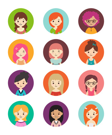 Collection of different round avatars with women. Vector illustration with cute women, flat style. Women in different dress styles.