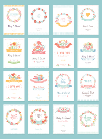 retro flowers: Romantic vintage cards collection. Hand drawn vector floral illustration set. Wedding style. Illustration