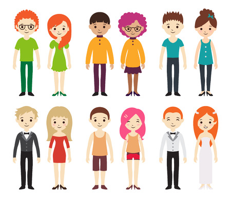 Collection of different men and women in business clothes and free-style clothes. Vector illustration with businessman and businesswoman, flat style. Set of men and women in different dress styles. 向量圖像