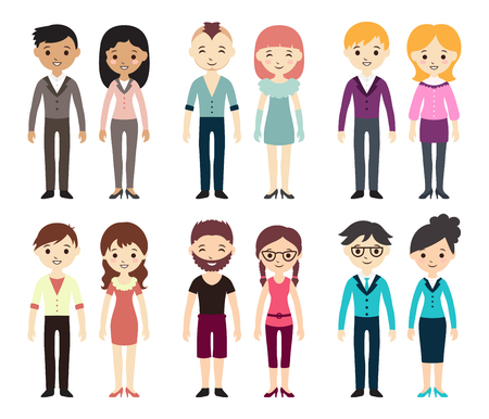 Collection of different men and women in business clothes and free-style clothes. Vector illustration with businessman and businesswoman, flat style. Set of men and women in different dress styles. Çizim