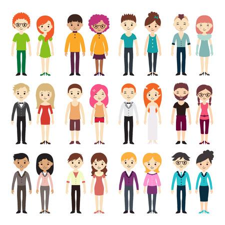 Collectie van verschillende mannen en vrouwen in het bedrijfsleven kleding en free-style kleding. Vector illustratie met zakenman en zakenvrouw, vlakke stijl. Set van mannen en vrouwen in verschillende jurk stijlen. Stock Illustratie