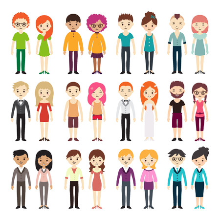 Collection of different men and women in business clothes and free-style clothes. Vector illustration with businessman and businesswoman, flat style. Set of men and women in different dress styles. Vettoriali