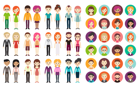 Collection of different men and women in business clothes and free-style clothes. Vector illustration with businessman and businesswoman, flat style. Round avatars with men and women. Vettoriali