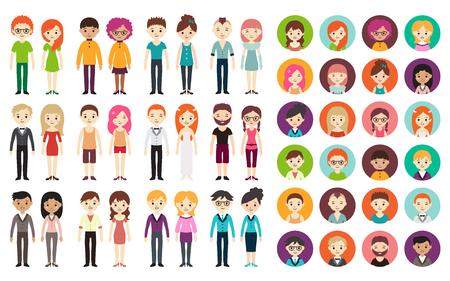vrouwen: Verzameling van verschillende mannen en vrouwen in het bedrijfsleven kleding en free-style kleding. Vector illustratie met zakenman en zakenvrouw, vlakke stijl. Ronde avatars met mannen en vrouwen.