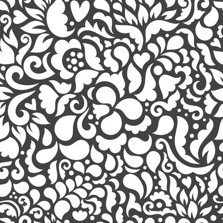 Seamless floral pattern with flowers and leaves. Vector art illustration.