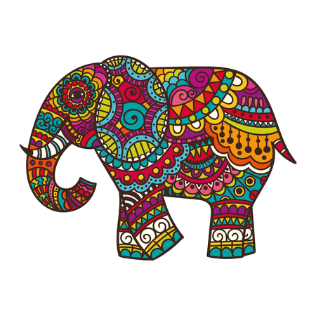 africa people: Decorative elephant illustration. Indian theme with ornaments. Vector isolated illustration. Illustration