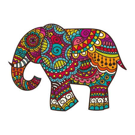 ELEFANTE: Ilustración de elefante decorativo. Tema indio con adornos. Ilustración vectorial aislado. Vectores