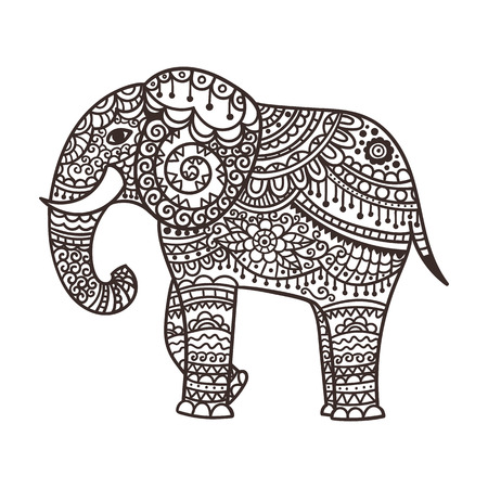 east indian: Decorative elephant illustration. Indian theme with ornaments. Vector isolated illustration. Illustration