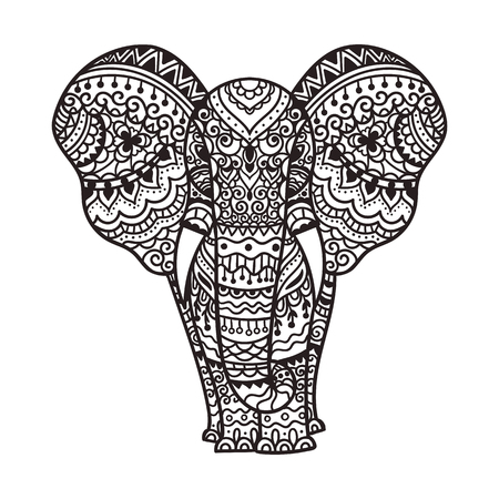 indian traditional: Decorative elephant illustration. Indian theme with ornaments. Vector isolated illustration. Illustration
