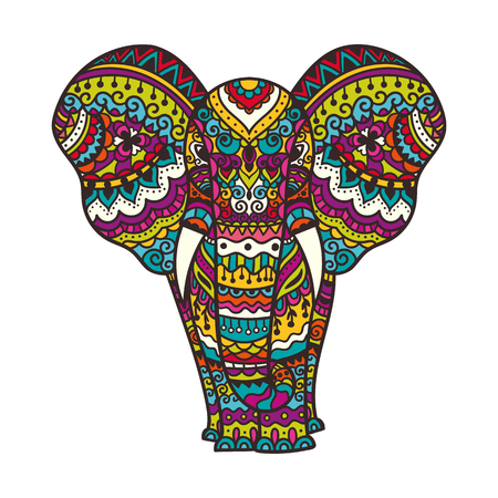 Decorative elephant illustration. Indian theme with ornaments. Vector isolated illustration. Vettoriali