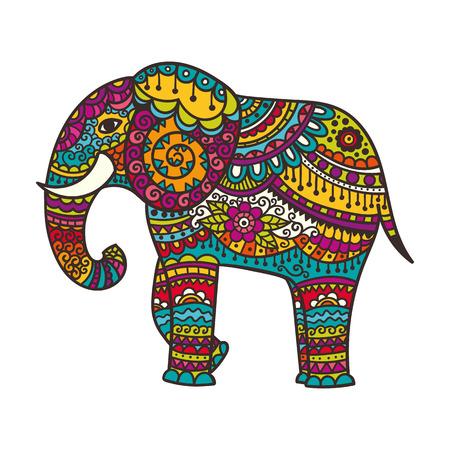 装飾的な象の図。装飾品でインドのテーマ。ベクトル図を分離しました。