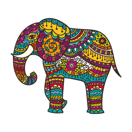 Decorative elephant illustration. Indian theme with ornaments. Vector isolated illustration. Ilustração