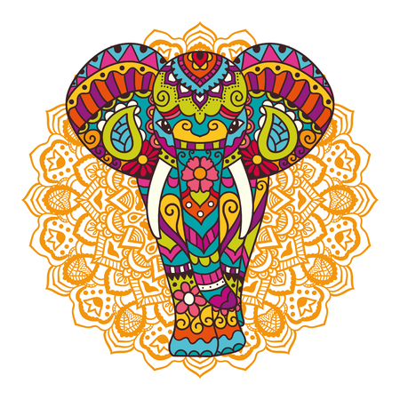 Decorative elephant with mandala. Indian theme with ornaments. Vector isolated illustration.