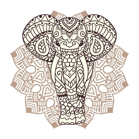 マンダラと装飾的な象。装飾品でインドのテーマ。ベクトル図を分離しました。