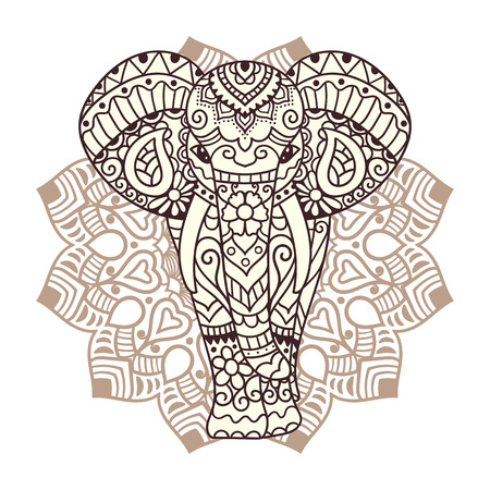 indians: Decorative elephant with mandala. Indian theme with ornaments. Vector isolated illustration.