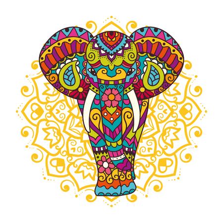 Decorative elephant with mandala. Indian theme with ornaments. Vector isolated illustration.