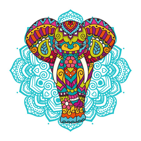 indian traditional: Decorative elephant with mandala. Indian theme with ornaments. Vector isolated illustration.