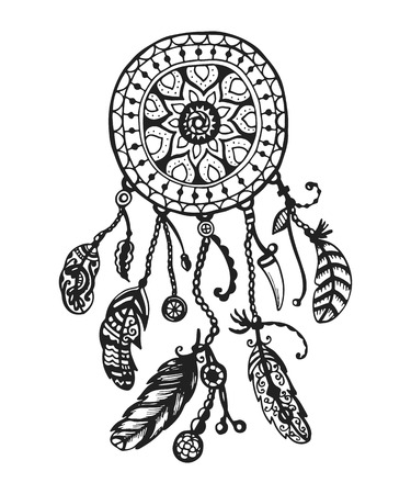 Tribal vector dream catcher with feathers. Hand drawn indian illustration. Vintage poster. Иллюстрация