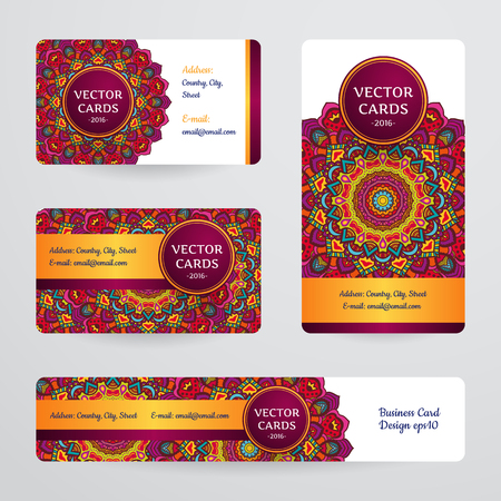 Business cards with mandala. Vector template, tribal theme. Vintage business card collection. Ilustrace