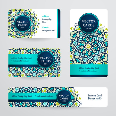 Business cards with mandala. Vector template, tribal theme. Vintage business card collection. 일러스트