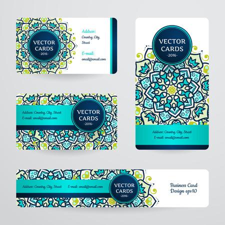 만다라과 명함. 벡터 템플릿, 부족 테마. 빈티지 비즈니스 카드 컬렉션입니다. 일러스트